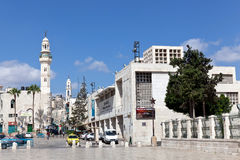 A minaret stands in Manger Square in Bethlehem Royalty Free Stock Image