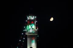 Minaret stary meczet z księżyc w Ramadan Fotografia Stock