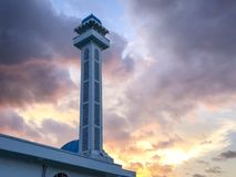 Minaret sunset islam cloud sillohuette Royalty Free Stock Image