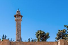 Minaret with a survey platform Royalty Free Stock Photos