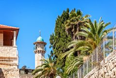 Minaret with a survey platform Royalty Free Stock Photo