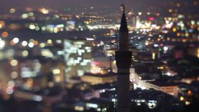 Minaret tower of Mosque in Ankara at night, beautiful view of city stock video footage