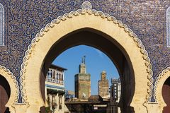 Minaret tower view from the door entrance of the Fez City, Morocco stock photography