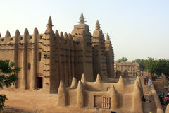 Minaret of a traditional mosk. Made of mud in Mali, West Africa