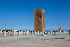 Minaret and the unfinished tower of the mosque Hassan. Rabat. Morocco. Royalty Free Stock Photo