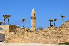 Minaret van Caesarea Maritima in oude stad van Caesarea, Israël Royalty-vrije Stock Fotografie