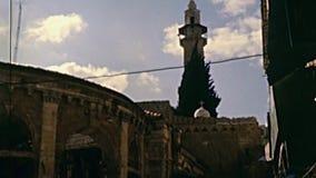 Minaret van Moskee van Omar stock footage