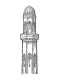 Minaret. Vector black vintage engraving illustration. Isolated on a white background Stock Photo