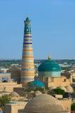 Minaret w antycznym mieście Khiva Fotografia Royalty Free