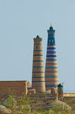 Minaret w antycznym mieście Khiva, Uzbekistan Zdjęcie Royalty Free