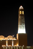 Minarete da mesquita grande de Doha na noite, Qatar Foto de Stock