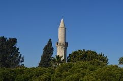 Minaretmoskee Limassol stock foto