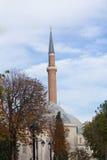 Minareto della moschea a Costantinopoli, Turchia Fotografia Stock