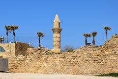 Minareto di Cesarea in Palestina in città antica di Cesarea, Israele Fotografia Stock Libera da Diritti