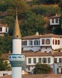 Minareto e villaggio fotografia stock