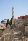 Minareto nella città di Rodi Fotografia Stock Libera da Diritti