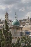 Minareto, torre musulmana di preghiera, Gerusalemme orientale Fotografia Stock
