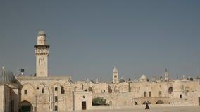 Minaretowy i stary miasto od kopuły skała w Jerusalem zdjęcie wideo