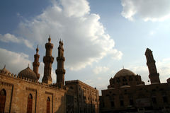 Minarets of cairo 1. Alazhar square , ALAZHAR mosque and ABU ELDAHAB mosque minarets and dooms , old cairo , egypt stock photography