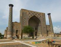 Minarets de Registan, Samarkand Photographie stock