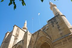 Minarets and Gothic details of Selimiye Mosque in North Nicosia, Cyprus royalty free stock photo
