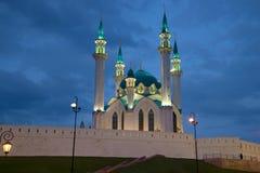 Minarets of Kul-Sharif mosque at night illumination on the background of the evening sky. Kazan Stock Image