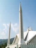Minarets of Mosque. Under blue sky. Shah Faisal Mosque in Islamabad city of Pakistan Stock Photography