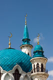 Minarets of the mosque in Kazan Kremlin Stock Photos