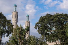 The minarets of the mosque among the trees Royalty Free Stock Photos
