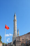 Minarets of Muslim mosque and Turkish flag Royalty Free Stock Images