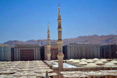 Minarets in Nabawi Mosque stock photography
