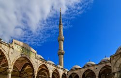 Minarets ramadan Blue Mosque Courtyard. Ottoman architecture Istanbul, Turkey. Courtyard Sultan Ahmet ramadan or Blue Mosque landmark, Ottoman architecture royalty free stock photography