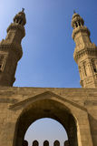 The Minarets of Zuweila. Bab Zuweila is a medieval gate in Cairo, which is still standing in modern times. It was also known as Bawabbat Al-Mitwali during the Royalty Free Stock Images