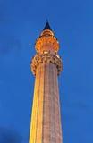 Minarett der Suleymaniye-Moscheen-Nachtansicht, Istanbul, die Türkei Stockfotos
