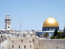 Minarett Jerusalems Ghawanima und Felsen-Moschee 2010 Lizenzfreie Stockfotos