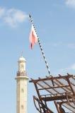 Minarett und Markierungsfahne Lizenzfreie Stockbilder