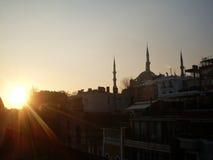 Minaretts der blauen Moschee in Istanbul Stockfotografie