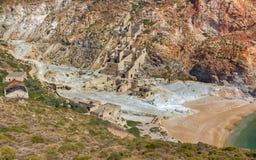 Minas de enxôfre abandonadas, Milos Fotos de Stock