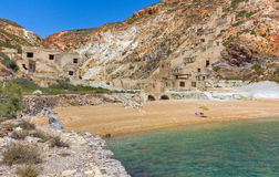 Minas de enxôfre abandonadas, Milos console, Greece Foto de Stock