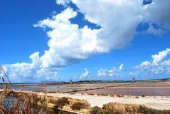Minas de sal de la marsala - Sicilia Foto de archivo libre de regalías