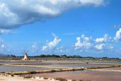 Minas de sal de la marsala - Sicilia Fotografía de archivo