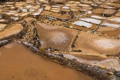 Minas de sal de Maras perto da vila de Maras, vale sagrado, Peru imagens de stock royalty free