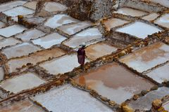 Minas de sal del paisaje de Perú de Maras foto de archivo