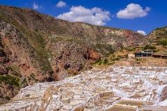 Minas de sal de Maras no Peru Imagem de Stock