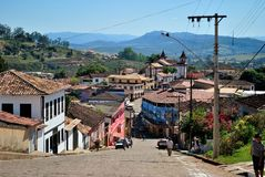 Minas Gerais Historical city. Historical city build at Estrada Real. Espinhaço Mountains at Minas Gerais Estate. Brazil Royalty Free Stock Images