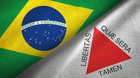 Minas Gerais state and Brazil flags textile cloth, fabric texture. Minas Gerais state and Brazil folded flags together stock illustration