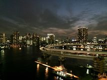 Minato district in Tokyo Japan. Minato hosts a large number of embassies. It is also home to various domestic companies, including Honda, Mitsubishi Motors Royalty Free Stock Photo
