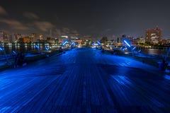 Minato Mirai 21 area della città di Yokohama alla notte in Kanagawa, Giappone fotografia stock