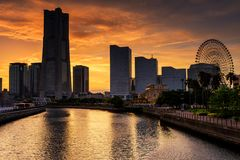 Minato Mirai at dusk, Yokohama. YOKOHAMA, JAPAN - MAY 6, 2017: Yokohama cityscape skyline at Minato Mirai waterfront district with twilight sky before sunset Royalty Free Stock Photo