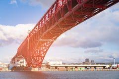 Minato red steel bridge cross over. Osaka bay Japan Stock Photography